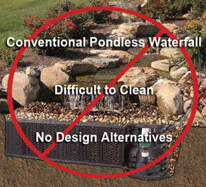 Conventional pondless waterfall and stream systems are hard to clean so they grow excessive algae.