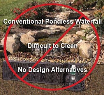 Conventional pondless waterfall kits are impossible to keep clean