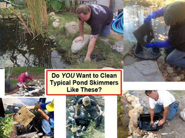 All typical pond kits come with difficult to clean pond skimmers