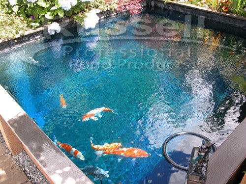 Hydro shade blue pond tint beautiful blue pond water for Blue koi pond liner