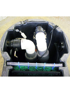 Two pumps using two outlet ports of the Pelican HydroClean pond skimmer