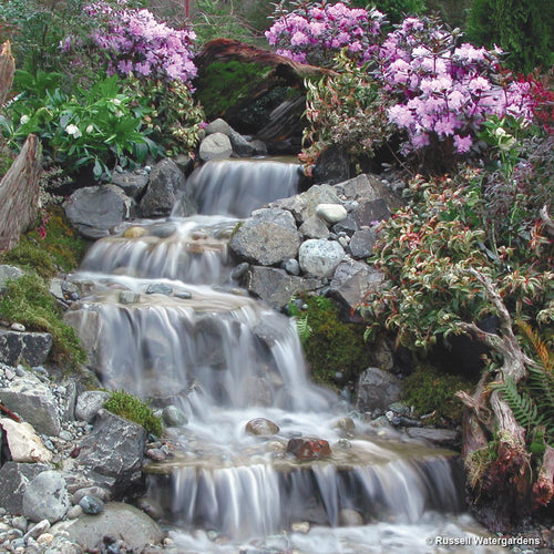 Pond pumps pond supplies fish foods russell for Garden pond waterfalls for sale