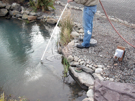"Routine ""fluffing"" of the pond and backwashing the filtration system eliminates ""annual"" pond cleanings"