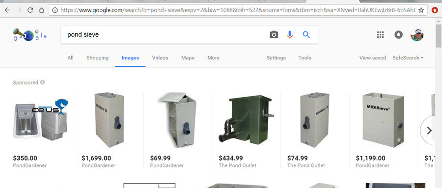 Compare pond sieves on Google or any other search engine