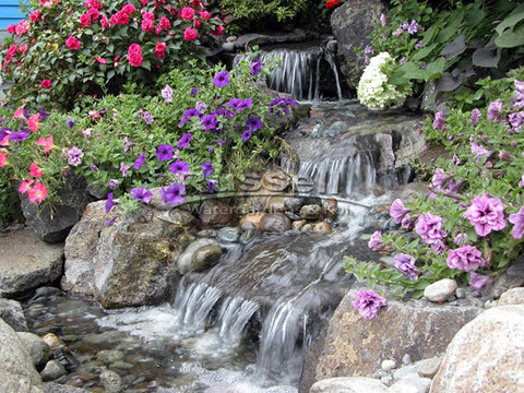Ultimate pondless waterfall and stream system is easy to install and easy to clean.