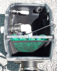 Piper HydroClean pond skimmer with pump using left side outlet with auto fill valve installed