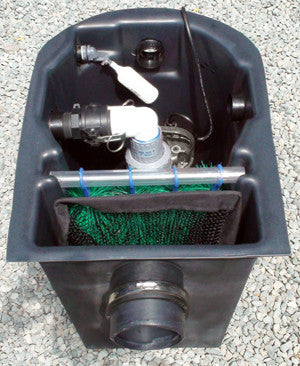 Seagull HydroClean small pond skimmer with pump using the left outlet port and auto fill valve installed