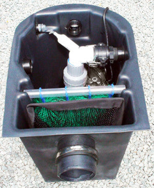 Seagull HydroClean small pond skimmer with pump using the right outlet port and auto fill valve installed