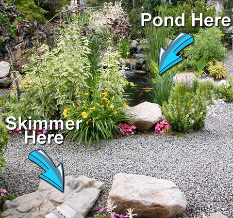 Hybrid Pond™ with a remote HydroClean™ pond skimmer installed 12' away from the pond's edge.