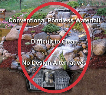 Say NO to impossible to clean and maintain conventional pondless waterfall kits