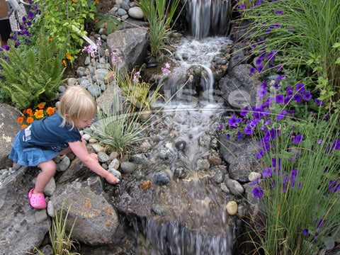 Ahi Series Ultimate small pondless waterfall kits are child friendly