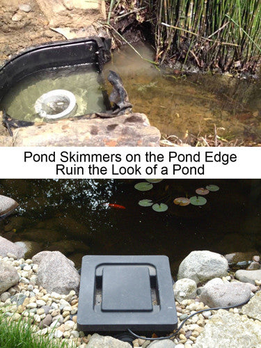 Conventional pond skimmers ruin natural appearance of a pond