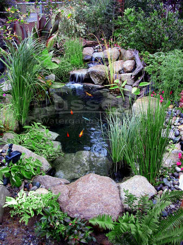 The Ahi Hydro Vortex™ small waterfall filter becomes invisible behind the waterfalls and creates beautiful and easy to maintain water garden ponds.