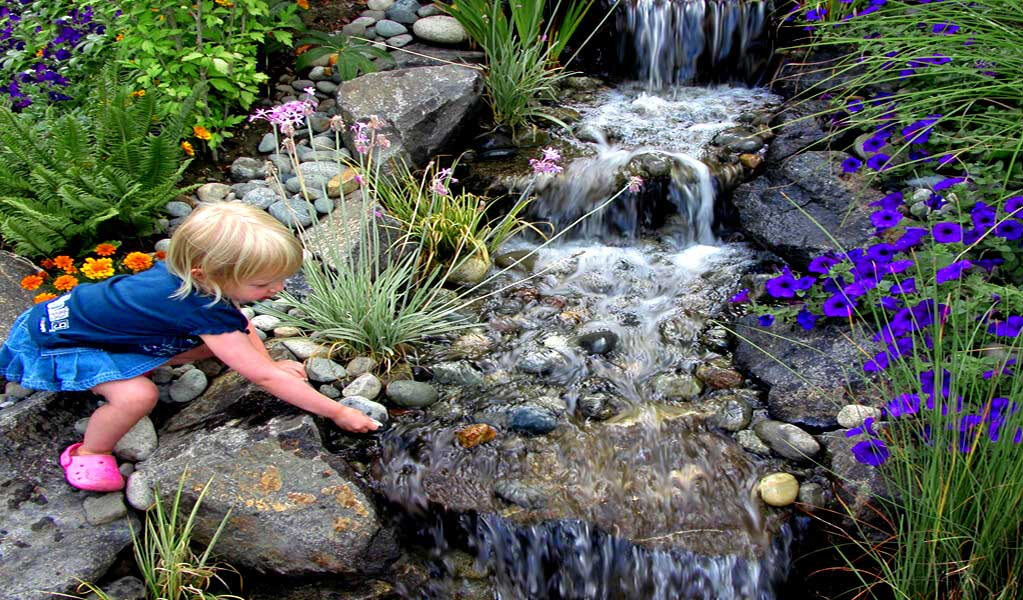 Pondless waterfalls, pondless waterfall kits, pondless systems, pondless, pond-free