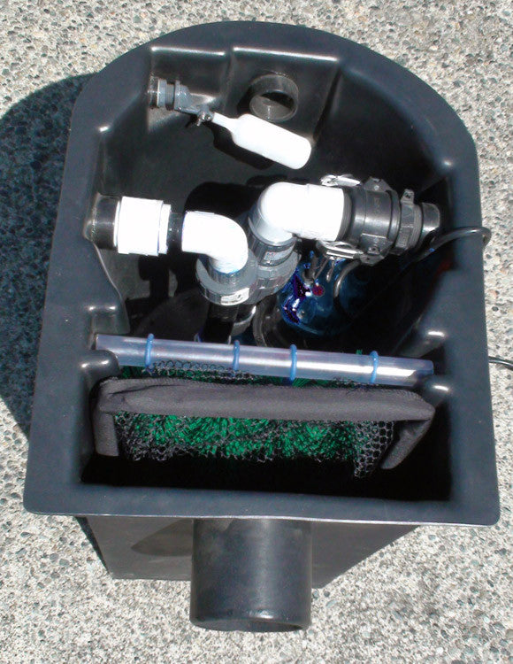 Small pond skimmer with room for multiple pumps and an auto fill valve