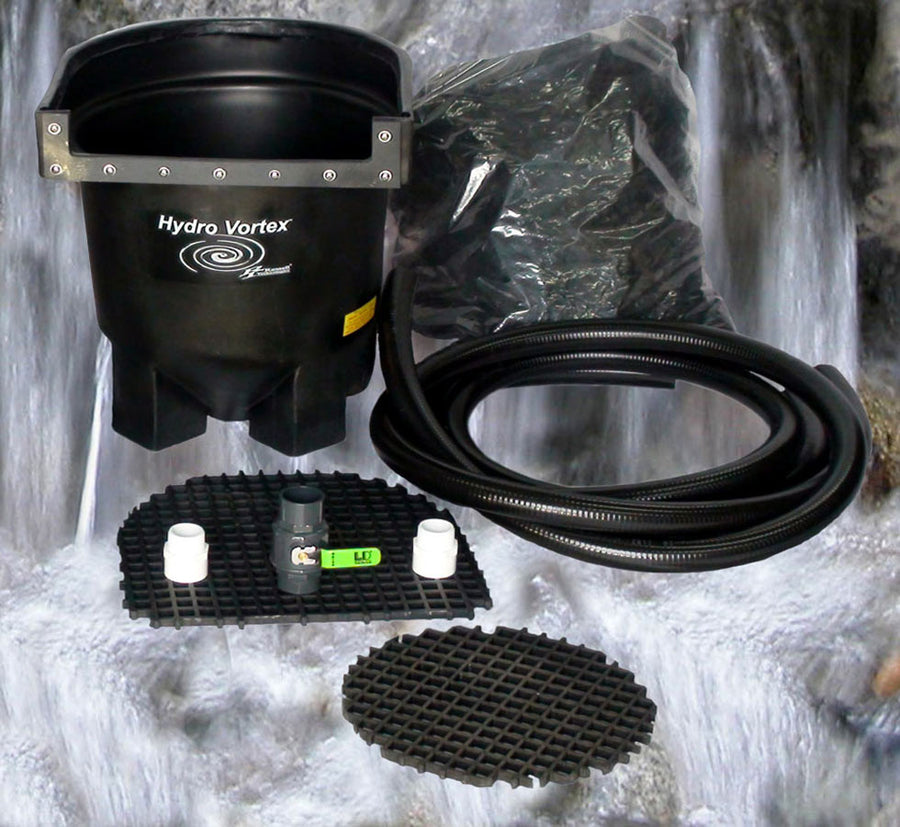 Ahi Hydro Vortex™ easy to clean small waterfall filter with manual backwash.