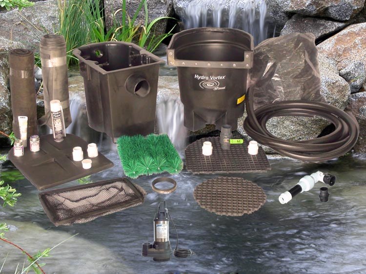 Ahi Series 11' x 11' Ultimate Water Garden Pond Kit with RW-1800 Pump and Manual Backwash