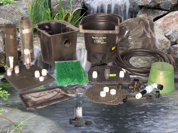 Ahi Series 11' x 11' Ultimate Water Garden Pond Kit with RW-1800 Pump and HydroFlush Backwash System