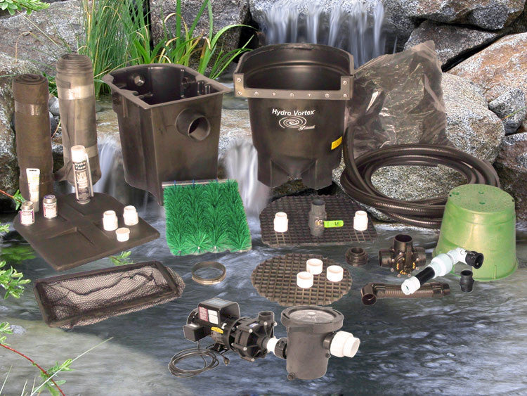 Ahi Series 11' x 11' Ultimate Water Garden Pond Kit with C-2520-B External Pump and HydroFlush Backwash System