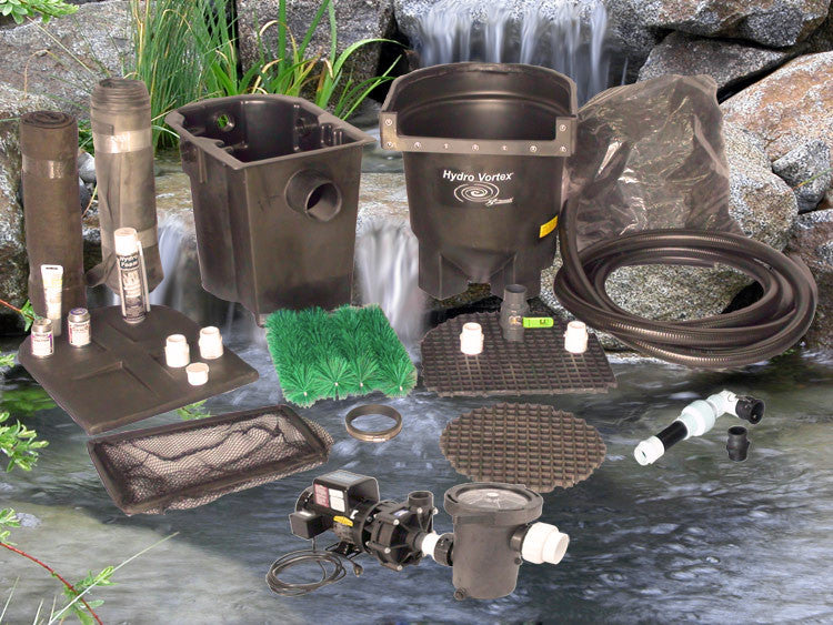 Ahi Series 11' x 11' Ultimate Water Garden Pond Kit with C-2520-B External Pump and Manual Backwash