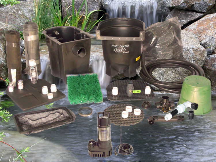 Ahi Series 11' x 11' Ultimate Water Garden Pond Kit with RW-2800 Pump and HydroFlush Backwash System