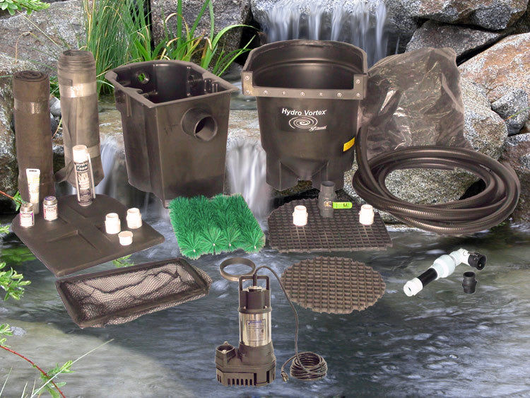 Ahi Series 11' x 11' Ultimate Water Garden Pond Kit with RW-2800 Pump and Manual Backwash