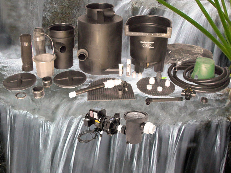 Marlin Series Ultimate pondless waterfall kit with C-3600-B External Pump and HydroFlush Backwash System