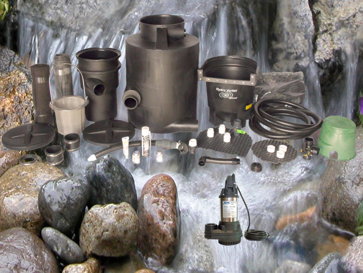 Small pondless waterfall kit with RW-1800 pump and HydroFlush Backwash System