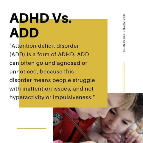 ADHD vs ADD: Inattention without the hyperactivity.