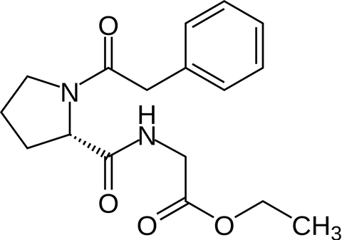 The Chemical Structure For Noopept - also known as N-Phenylacetyl-L-prolylglycine ethyl ester
