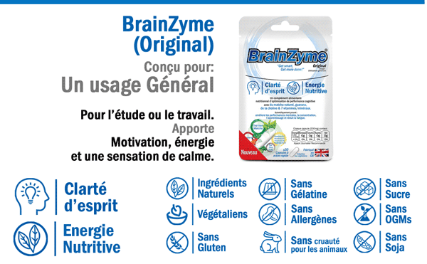 BrainZyme® Original - Formule douce - Motivation et Anti Fatigue : Un Complément Nutritionnel d'Optimisation de Performance Cognitiv