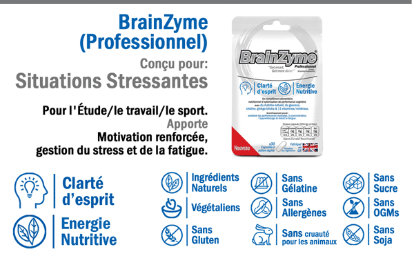 BrainZyme® Professionnel: Formule Renforcée - Motivation, Gestion du Stress et Fatigue : - Un Complément Nutritionnel.