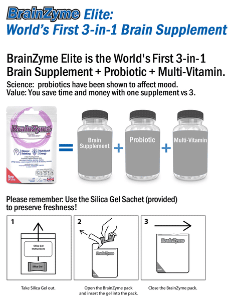 brain supplement (containing Gingko, Ginseng, Theanine, Guarana and Matcha) PLUS a probiotic PLUS a multi-vitamin,