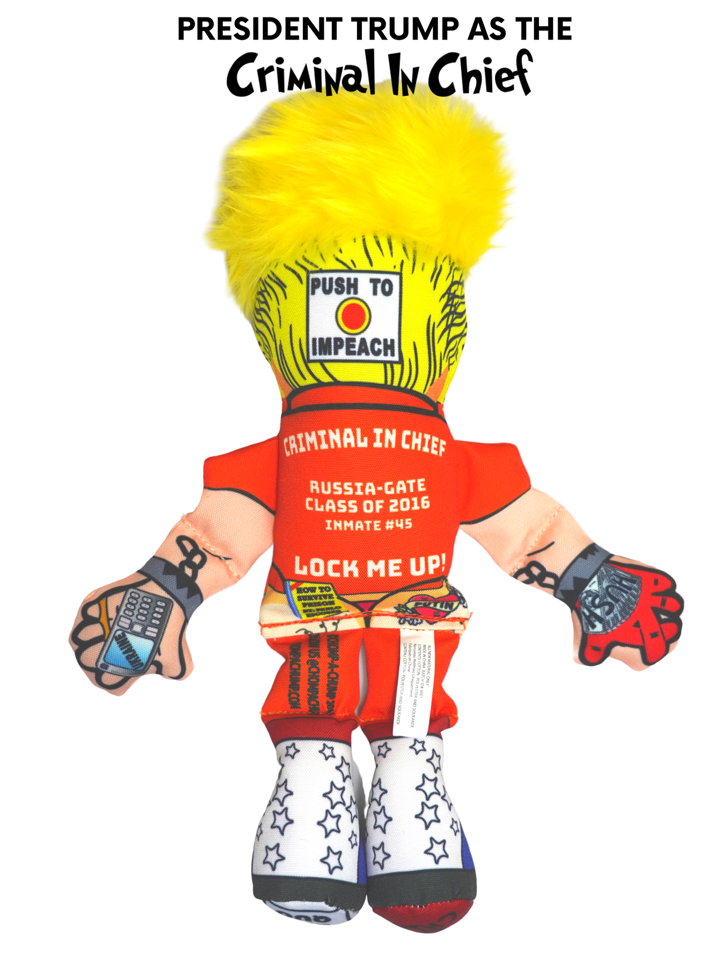 "Donald Trump ""Lock Him Up"" Political Dog Toy by Chomp A Chump - Impeachment Series - Chomp A Chump: Donald Trump Presidential Parody Dog and Cat Toy"