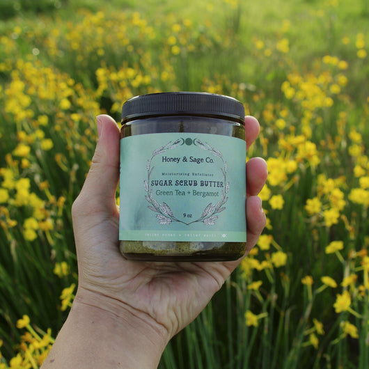 Green Tea + Bergamot Sugar Scrub Butter, Sugar Scrub - Honey & Sage