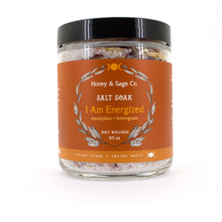 I Am Energized Salt Soak, Bath Salts - Honey & Sage