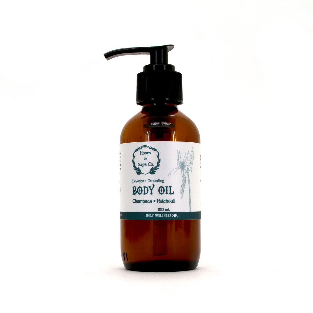 Body Oil: Champaca + Patchouli, Body Oil - Honey & Sage