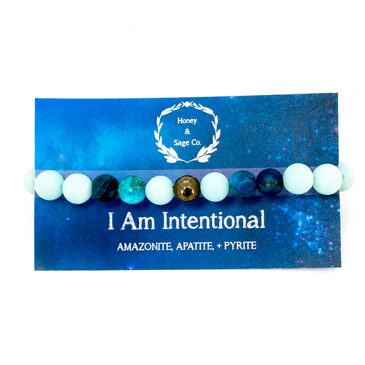 Mala Bracelet: I Am Intentional, Mala - Honey & Sage