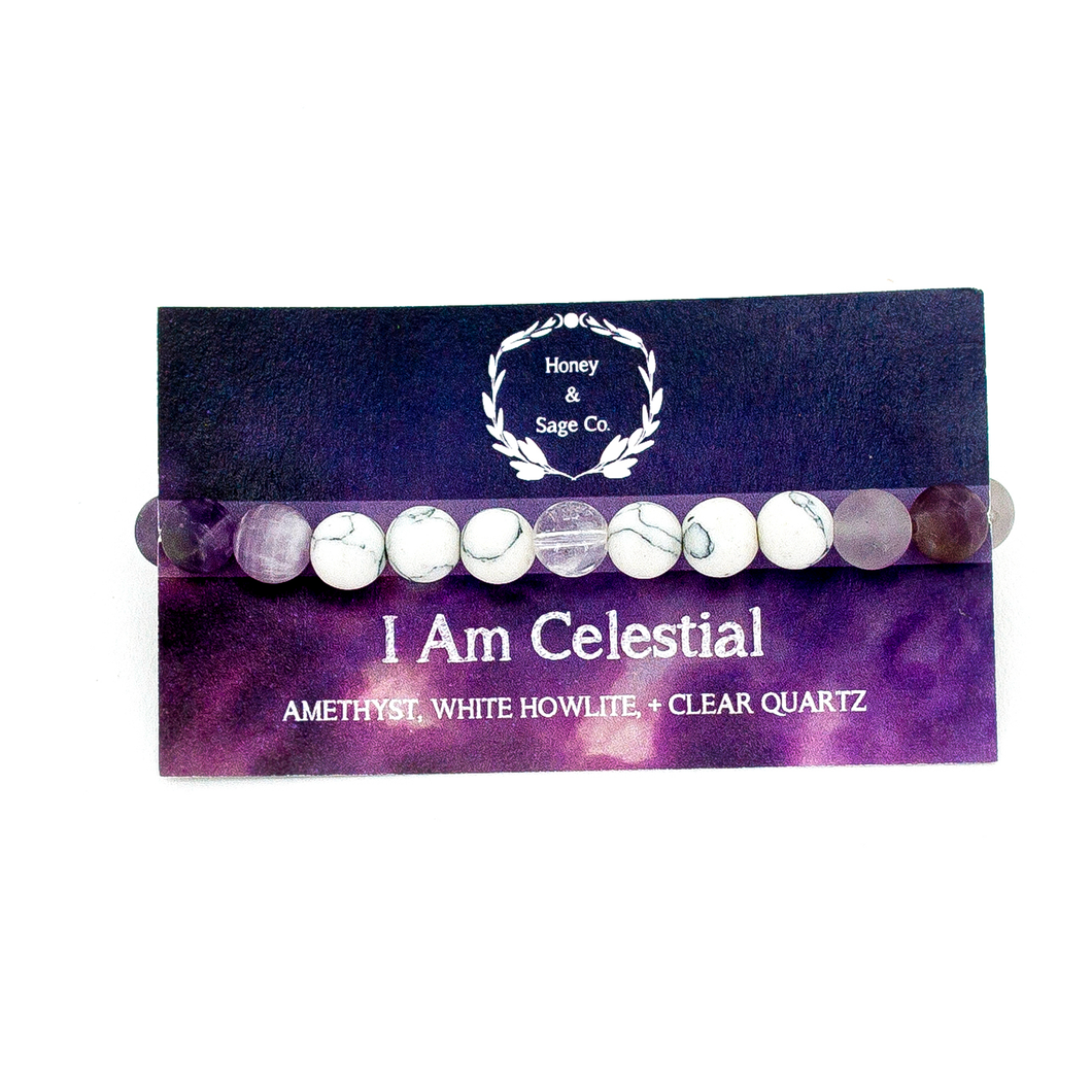Mala Bracelet: I Am Celestial, Mala - Honey & Sage