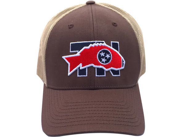 Harpeth River Outfitters TN Smallmouth Snapback Cap Brown Khaki