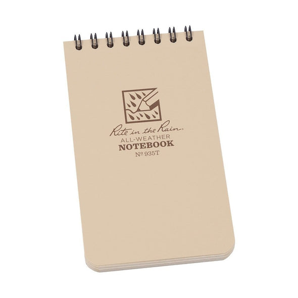 Rite in the Rain 3 x 5 Top Spiral Notebook Tan Front