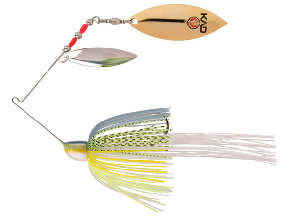 Strike King KVD Finesse Spinnerbait Chartreuse Sexy Shad Double Willow Leaf Blades Silver Gold