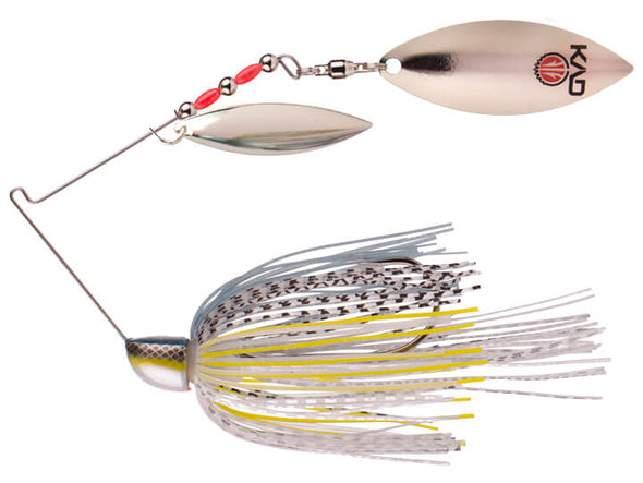 Strike King KVD Finesse Spinnerbait Chrome Sexy Shad Double Silver Willow Leaf Blades