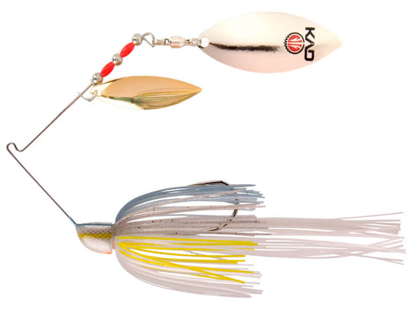 Strike King KVD Finesse Spinnerbait Sexy Shad Double Willow Leaf Blades Gold Silver