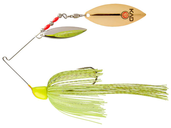 Strike King KVD Finesse Spinnerbait Super Chartreuse Double Willow Leaf Blades Silver Gold