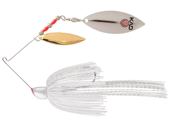 Strike King KVD Finesse Spinnerbait Super White Double Willow Leaf Blades Gold Silver