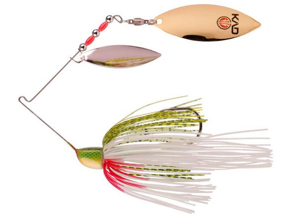 Strike King KVD Finesse Spinnerbait Tennessee Shad Double Willow Leaf Blades Silver Gold