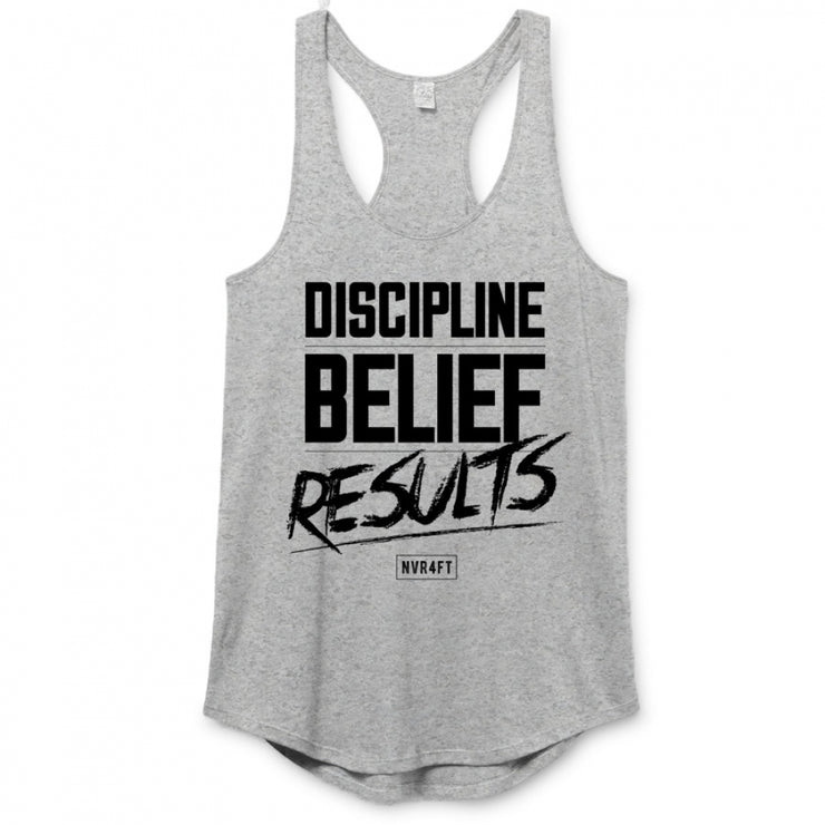 Never4Fit - Discipline Belief Results Premium Racerback