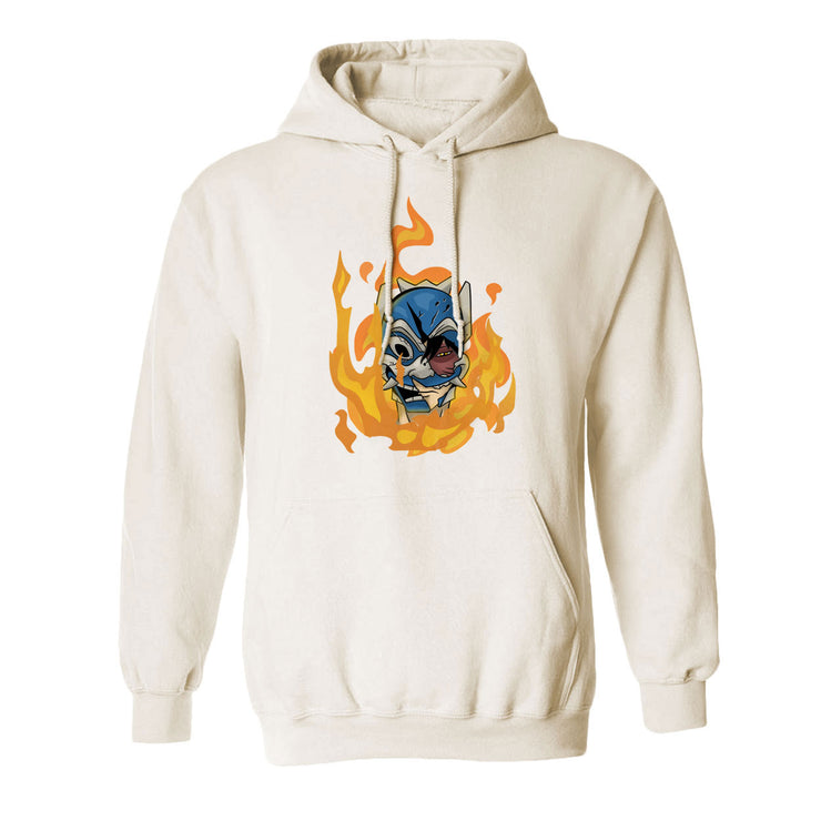 Rufio Uprising - Flame Mask Hoodie by @kelfrito.art