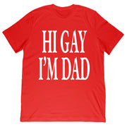 Sidney Lavin - Hi Gay, I'm Dad Text Tee - Red